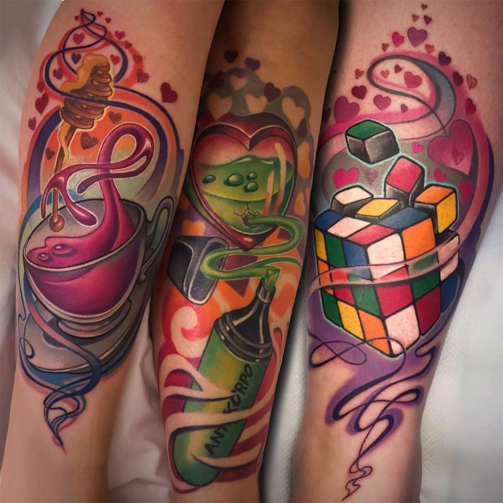 color cartoon tattoo Hive art gallery